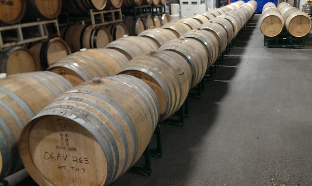 2014 Bien Nacido Chardonnay barrels laid out for May 2015 tasting/blending