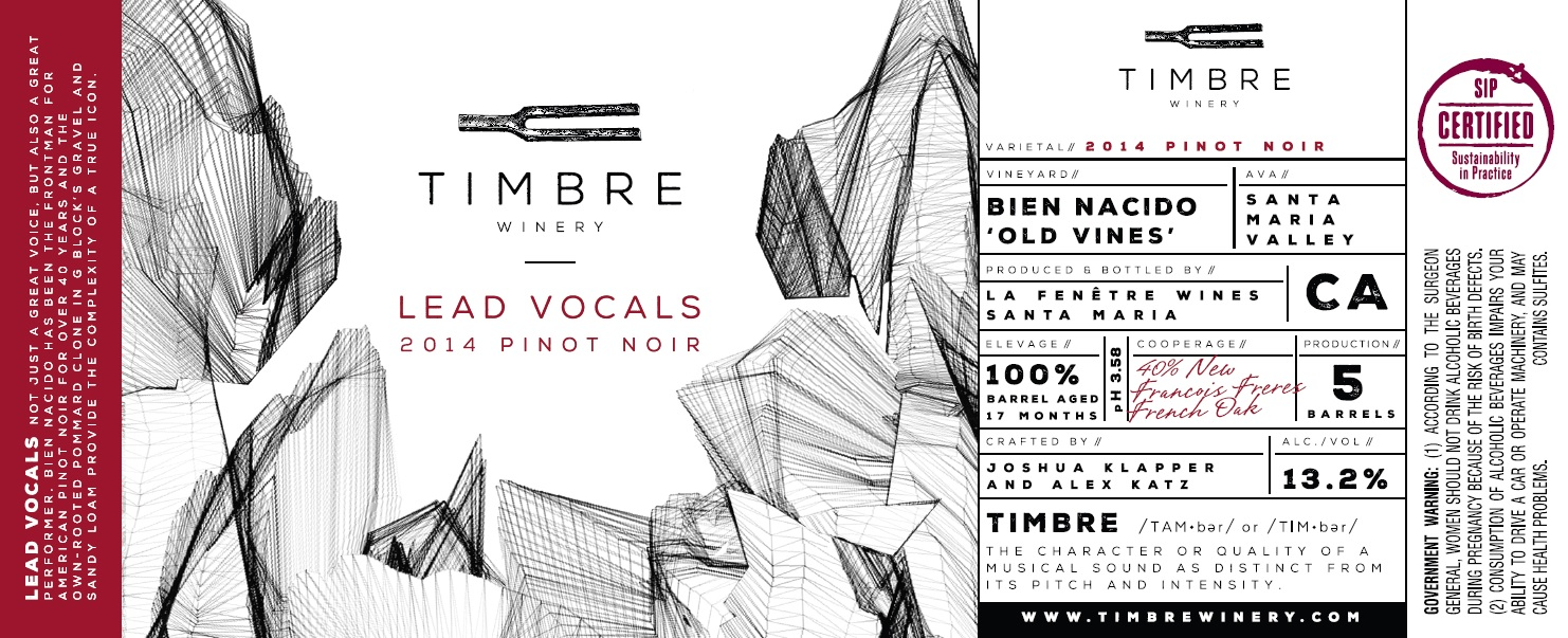 2014 timbre pinot noir lead vocals bien nacido vineyard for La fenetre pinot noir 2009